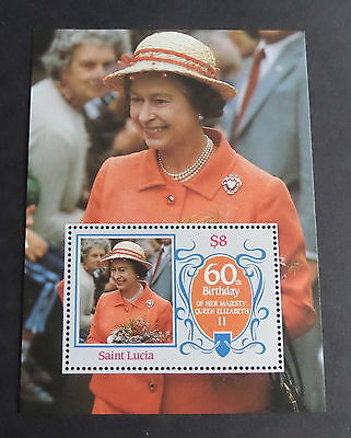 St Lucia 1986 Queen's 60th Birthday MS UM MNH unmounted mint