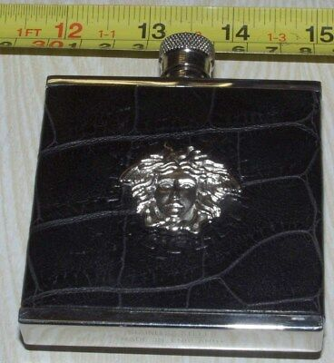 Vintage Versace Stainless Steel Leather Flask, Medusa With Belt Clip