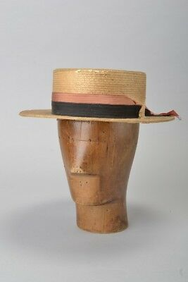 Gentleman's Distressed Italian Made s7 1/8 Straw Boater Hat. Ref EFOA