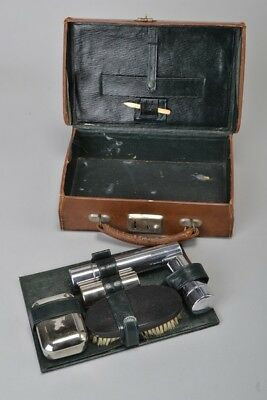 Edwardian Leather Dressing Case with Chromium Plated Fittings. Ref DFWA