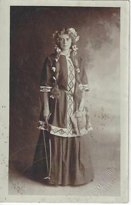 Colchester Lady In Unusual Dress, Daisy Flowers In Her Hair Vintage Postcard