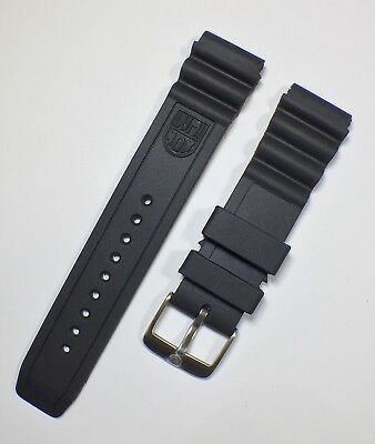 LUMINOX CURVED VENT 22mm Watch Strap BLACK RUBBER Solid Stainless Buckle LOGO UK
