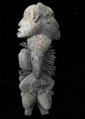 Outstanding  Tribal Bakongo 2 Headed Nail Fetish Figure   --  Congo