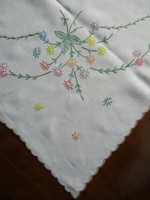 Beautiful Vintage Hand Embroidered Colourful Daisy Flower Large White Tablecloth