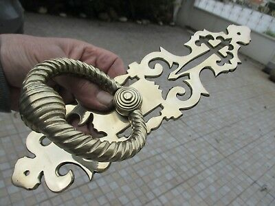 Architectural Salvage Vintage Brass Beautiful Door Knocker Handle Cover Plate