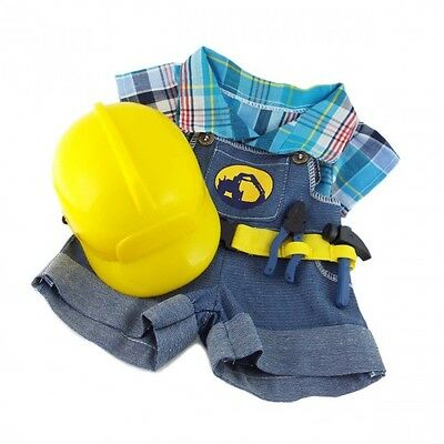 """Builder Construction Worker Outfit Hat teddy Bear clothes fits 15"""" Build a Bear"""