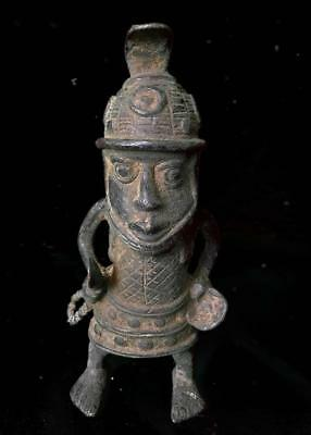 Beautiful  Tribal Benin Bronze King Figure     --  Nigeria