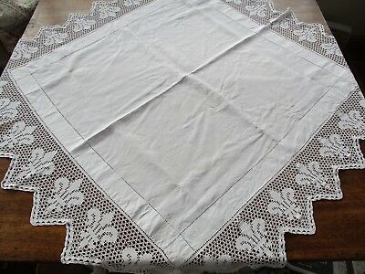 Antique Hand Crocheted Lace Edge Tablecloth