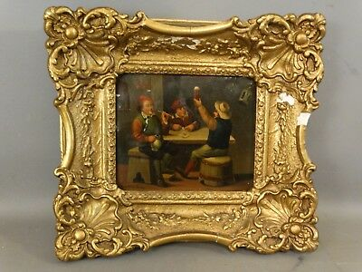 Antique 19thC English PUB SCENE Smoking PIPES & BEER Old INTERIOR Scene PAINTING