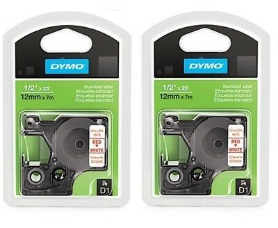"2 Packs, DYMO Standard D1 Labeling Tape, LabelManager Label, 1/2"" , Red Print"