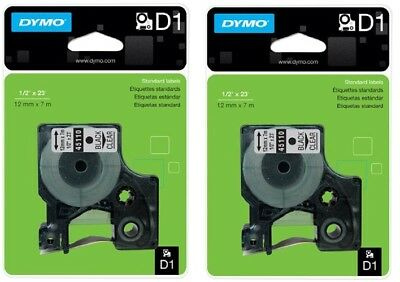 "2 Packs, DYMO Standard D1 Labeling Tape, LabelManager Label, 1/2"" , Black Clear"
