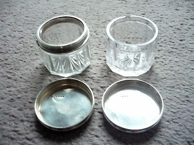 Victorian Silver Topped Cut Glass Toilet Jars by Thomas Diller, 1845