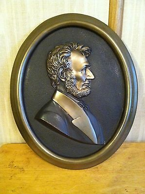 Vintage 1940's Lincoln Bust Head Brass - Bronze Oval Wall Plaque > ESTATE FIND