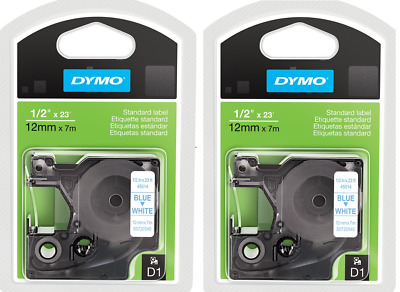 "2 Packs, DYMO Standard D1 Labeling Tape, LabelManager Label, 1/2"" , Blue Print"
