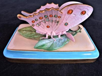Antique Minton Porcelain England Rare Desk Top Butterfly Letter Weight 1875