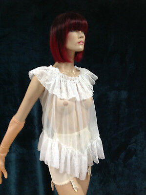 L32 Vintage 1970s White See-through nylon and frilly lace babydoll