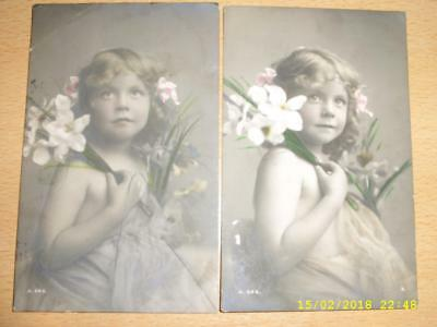 Beautiful Young Girl Holding Flowers, No Clothes Sent To Same Lady In 1914 Pc's