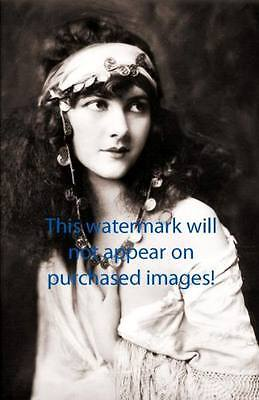 Old VINTAGE Antique LONG HAIR GYPSY LADY Photo Reprint
