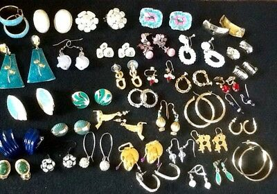Lot Of 37 Vintage Pair Earrings, C.Trifari, Avon & Napier 20s To Now, Nice Cond