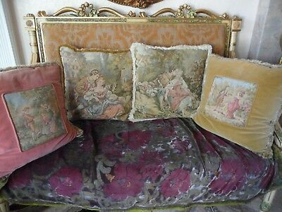 "Vintage antique Victorian 4 X Tapestry Pillows 18""X18"" with Victorian outfit"