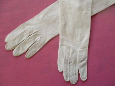 Beautiful Antique Vintage French White Kid Leather Long Evening Opera Gloves