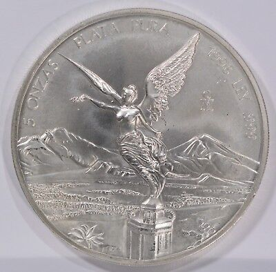 1998 Mexico Libertad 5 ONZA 999 Silver LOW Mintage 5 Troy Ounces 155.517 Grams