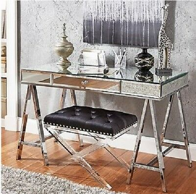 . MIRRORED DESK CONSOLE Sofa Writing Table Furniture Bedroom Vanity Glam  Drawer