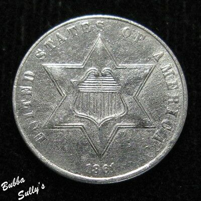 1861 III Cent Silver <> XF Details