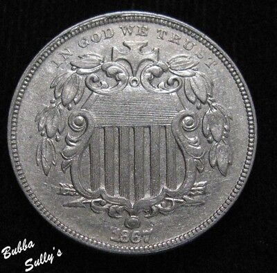 1867 With Rays Shield Nickel <> EXTREMELY FINE