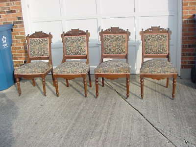 4 Antique Matching Victorian Parlor Eastlake Carved parlor Chairs, Walnut Carved