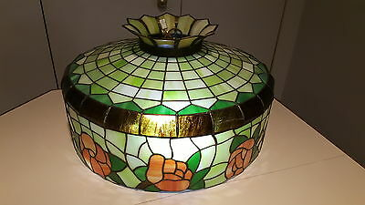 """Lovely Stained Glass Hanging Lamp  with a 74"""" Circumference LOCAL PCKUP ONLY!"""