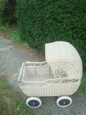 Antique Early 1900's Victorian Wicker Doll Carriage