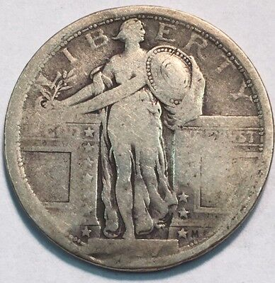 1917 Type 1 .25c Standing Liberty US Silver Quarter Tough Better Date