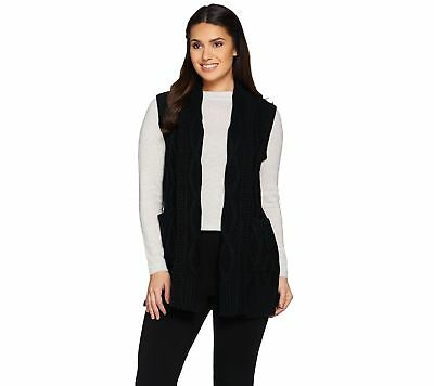 Lisa Rinna Collection Cabled Knit Sweater Open Vest Pockets Black XS NEW A285552