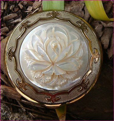 Vintage Gold Mother of Pearl Carved Rose Flower Powder Compact