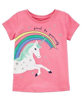 New Carter's Girls Rainbow Unicorn Top Both Sides Graphic NWT 3T 4T 5 6 7 8