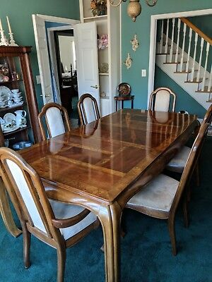 brown wooden Dining Table 6 chair with insert and China cabinet