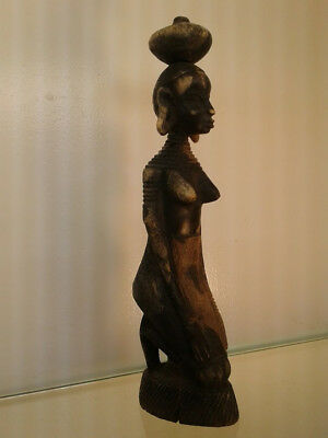 Vintage Statute African,Ethnic Wood Carving-Beautiful Nude Woman Kneeling