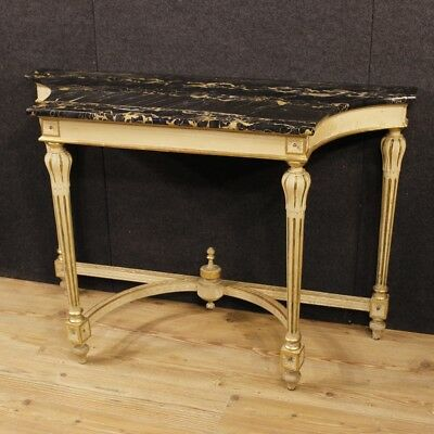 Console table lacquered furniture wood marble antique style louis XVI cabinet XX