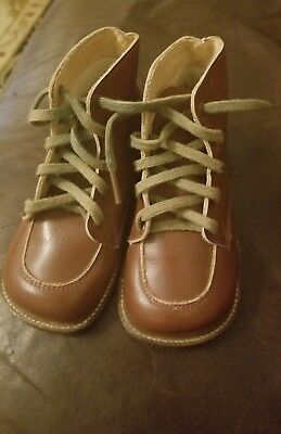 Antique Brown Leather Small Baby Shoes Laces Stitched  VTG Size 3.5 EUC