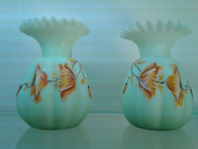 Pair~1890s Antique Bristol Satin Glass  Vases~Hand Painted Poppy Flowers