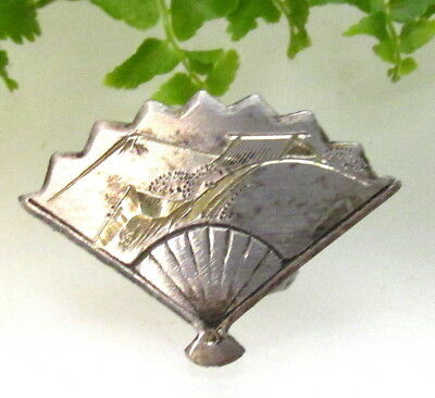 Vintage Engraved Sterling Silver Japanese Ladies Hand Fan Button P109