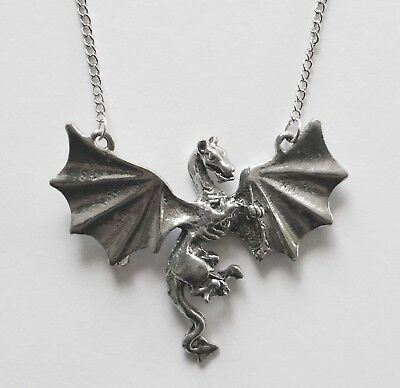 Chain Necklace #430 Pewter Dragon in flight (50mm x 38mm) silver tone