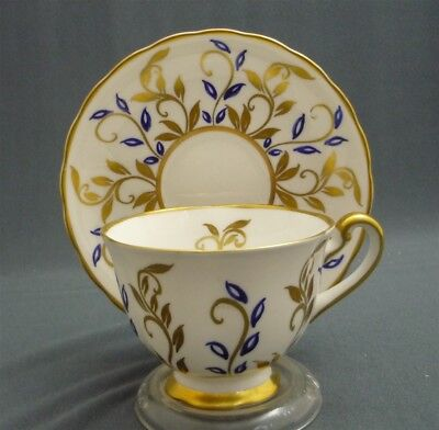 Royal Chelsea England Bone China Hand Painted Gold & Blue Tea Cup & Saucer Duo