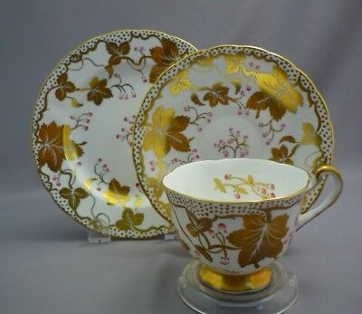 Royal Chelsea England Bone Pink Berry HEAVY GOLD LEAF Tea Cup Saucer Plate Trio