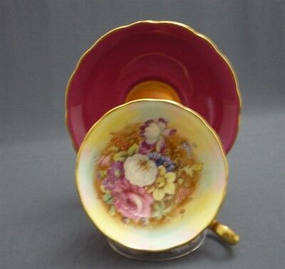 Hand Painted Signed HOWARD Hammersley Flowers PINK ROSES Tea Cup & Saucer Duo