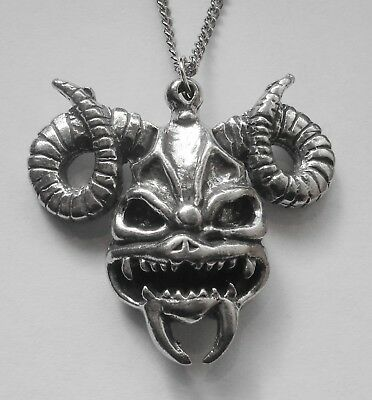 Chain Necklace #1500 Pewter RAM DEMON SKULL (39mm x 35mm) GOTH