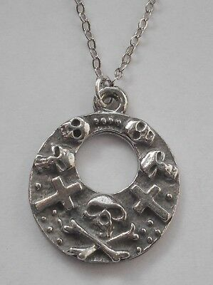 Chain Necklace #1536 Pewter SKULL & CROSSES (24mm x 20mm) X BONES