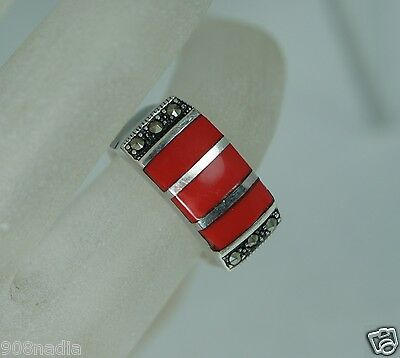 Vintage Sterling 925 Silver,marcasite,ruby Red Enamel Band Ring Size 6 3/4