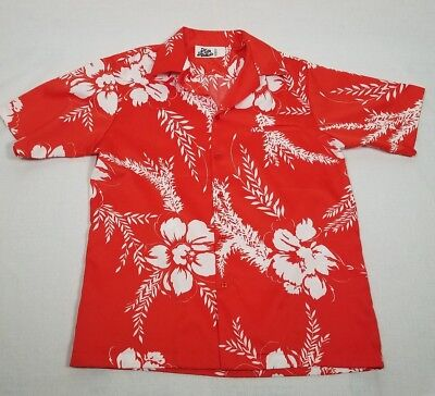 bf7887a2 Vintage 70s Hilo Hattie Hawaiian Shirt Fashions Red Bright Floral Aloha Size  L